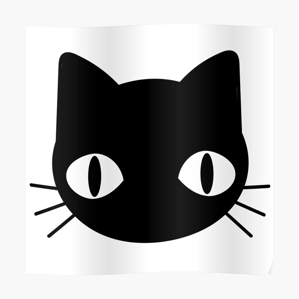 Cute Freaky Black Cat Face Sticker By Tanyadraws Redbubble