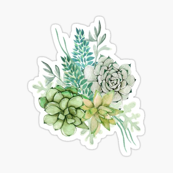 Mint Green Succulent Floral and Leaves Cluster Sticker