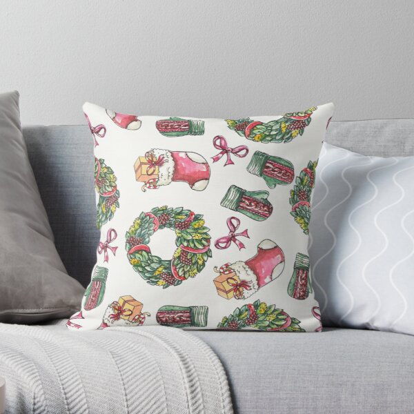 Gifts and wreaths Throw Pillow