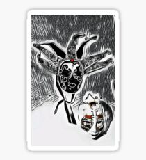 Harlequin masks on abstract grid Sticker