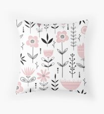 Blush Pink Modern Floral Pattern Throw Pillow