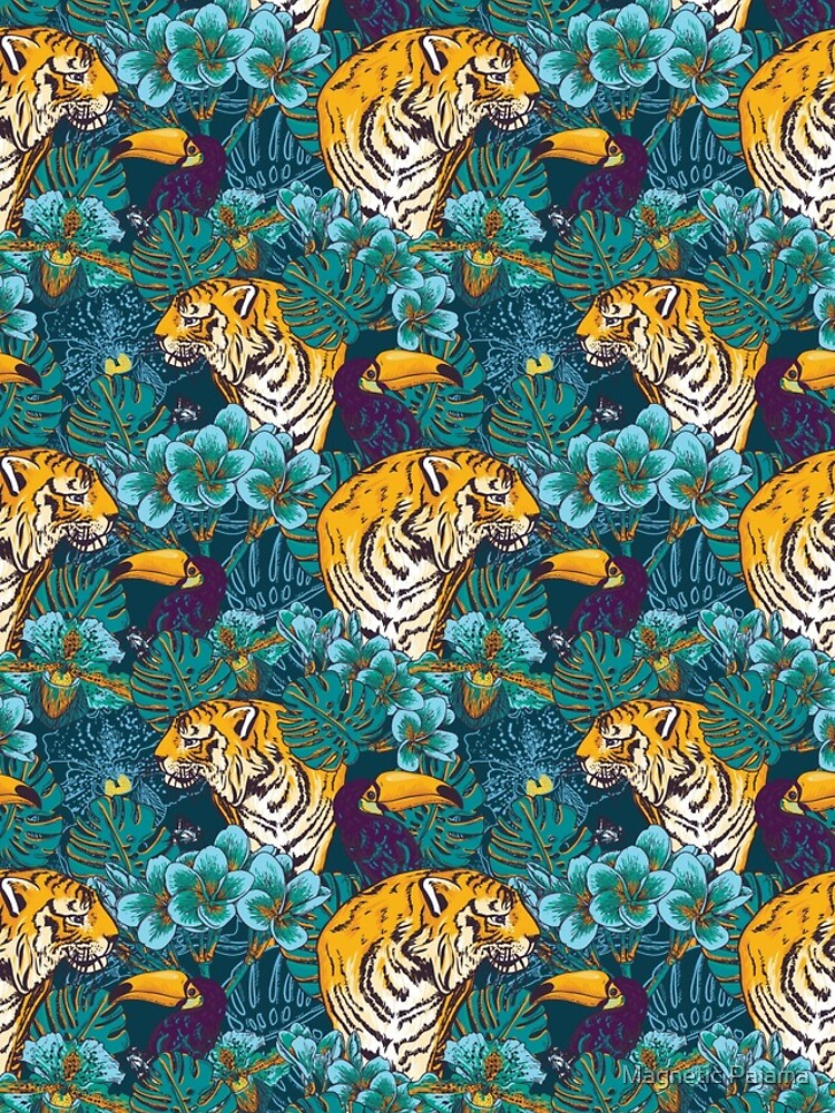 Tropical Pattern with Tiger, Toucan and Flowers // Blue Green Print by MagneticMama