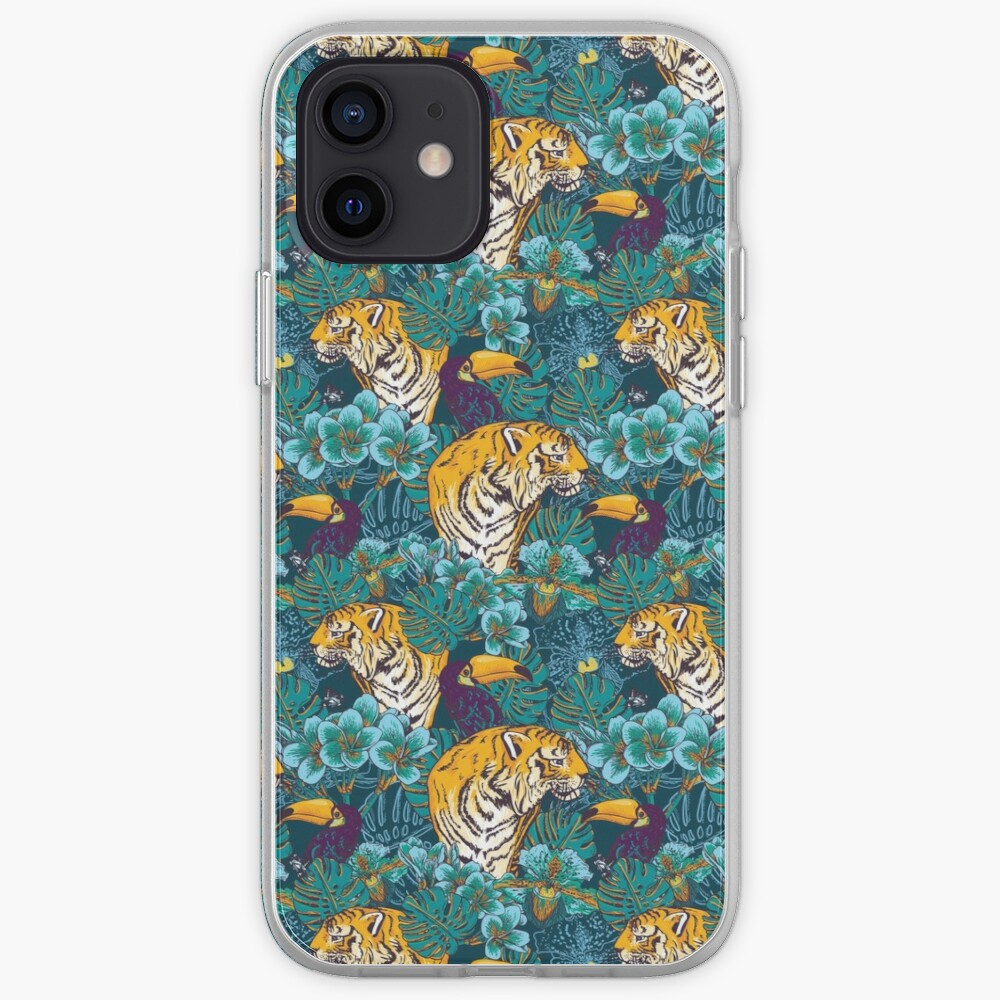 Tropical Pattern with Tiger, Toucan and Flowers // Blue Green Print iPhone Case & Cover