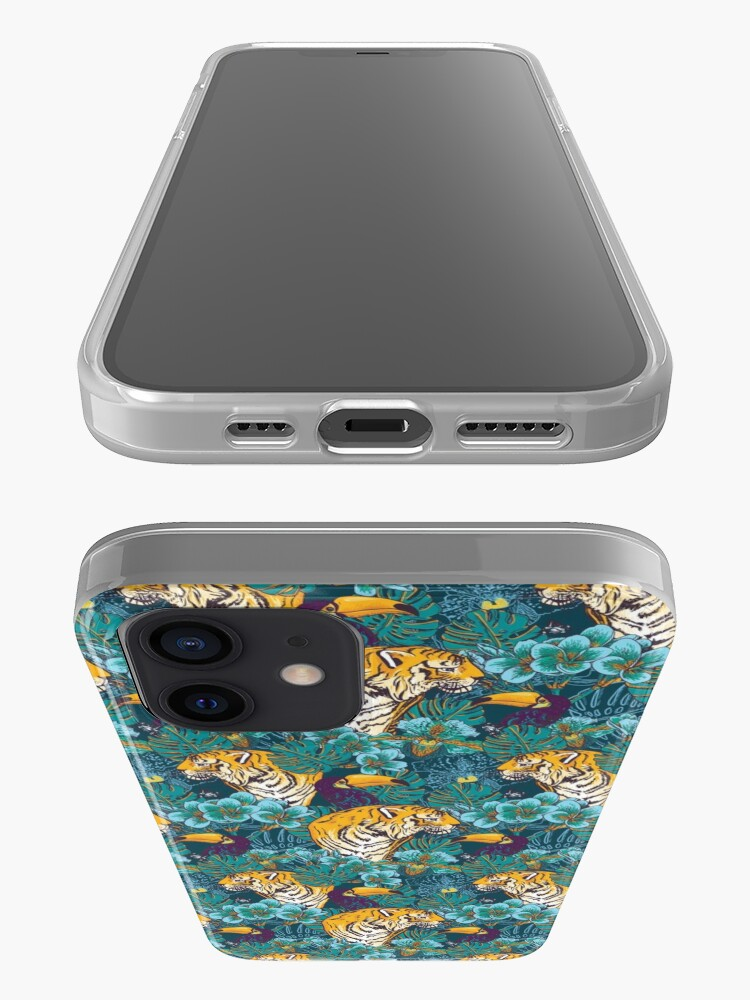 Alternate view of Tropical Pattern with Tiger, Toucan and Flowers // Blue Green Print iPhone Case & Cover