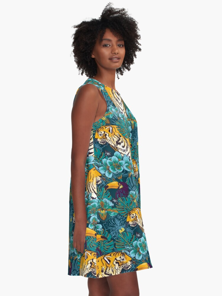Alternate view of Tropical Pattern with Tiger, Toucan and Flowers // Blue Green Print A-Line Dress