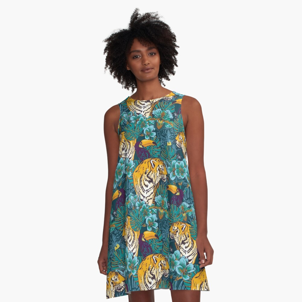 Tropical Pattern with Tiger, Toucan and Flowers // Blue Green Print A-Line Dress