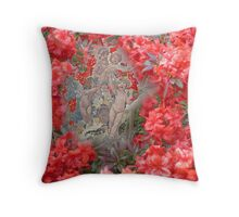 Chubby cherubs in the Azaleas. Throw Pillow
