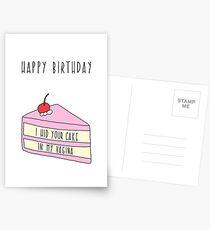 Birthday Card Boyfriend. I hid your cake in my vagina Postcards