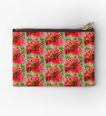 Peacock butterfly on geranium Studio Pouch