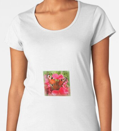 Peacock butterfly on geranium Women's Premium T-Shirt