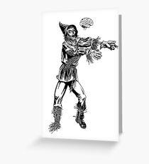 Scarecrow Zombie Needs Brains Greeting Card