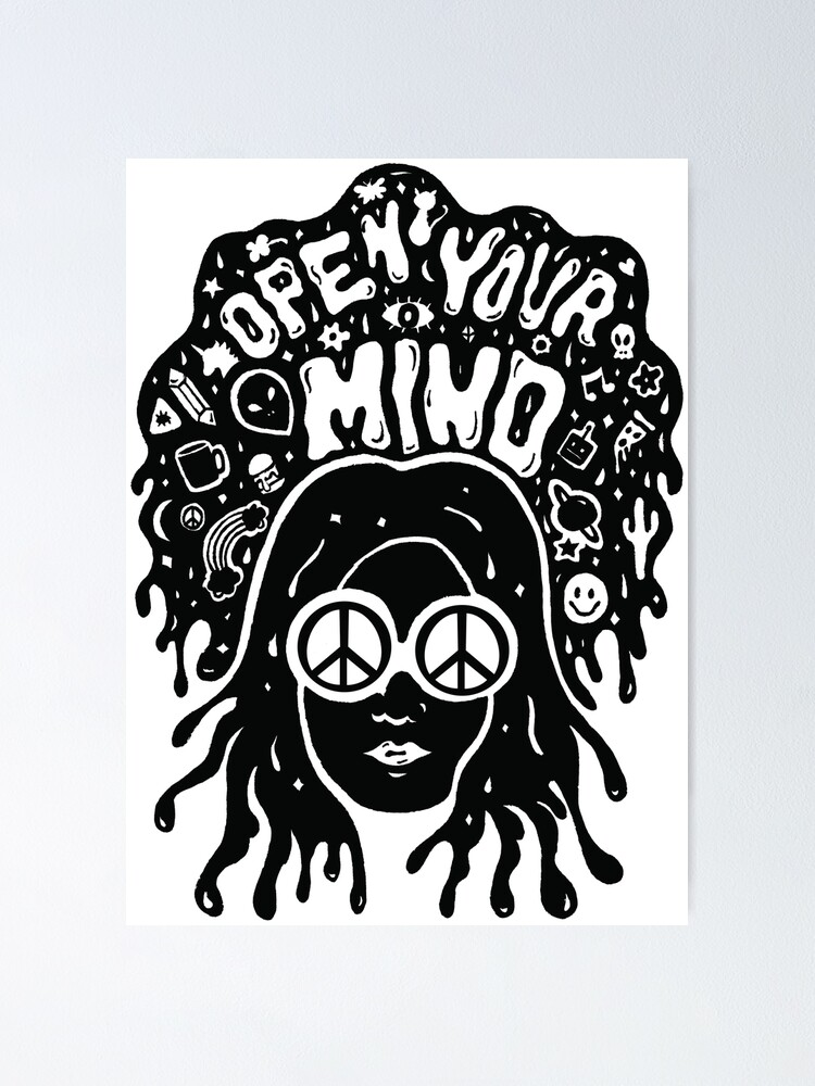 Alternate view of Open Your Mind in black Poster