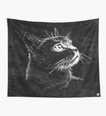 Cat Portrait  (white ink) Wall Tapestry
