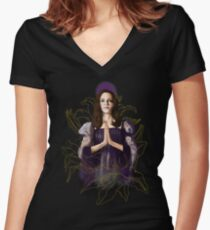 Saint Drusilla With Lilies Women's Fitted V-Neck T-Shirt