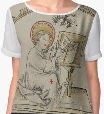 Evangelist portrait of St. John in a medieval manuscript Women's Chiffon Top