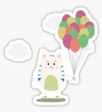 Cute Cat with balloons Rjlus Sticker