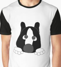 akita black and white mask white markings peeking Graphic T-Shirt