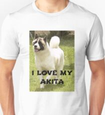 akita black mask white markings love with picture T-Shirt