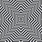 Minimal Geometrical Optical Illusion Style Pattern in Black & White  by badbugs