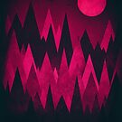 Dark Triangles (Peak Woods) Abstract Grunge Mountains Design (red/black) by badbugs