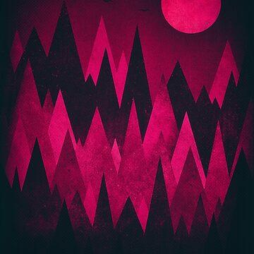 Dark Triangles (Peak Woods) Abstract Grunge Mountains Design (red/black) by badbugs