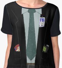 Alien-Hunting FBI Agent Costume T-Shirt - The X-Files, Fox Mulder, Halloween Costume Women's Chiffon Top