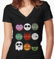 Funny Halloween Emoji Women's Fitted V-Neck T-Shirt