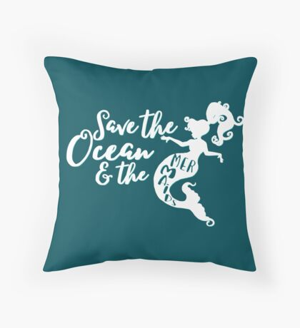 Save the Ocean and the Mermaids - white Floor Pillow