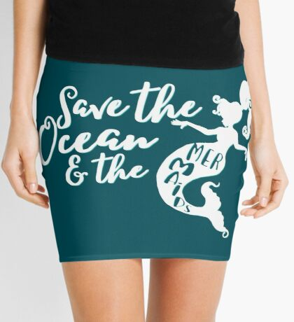 Save the Ocean and the Mermaids - white Mini Skirt
