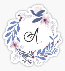 Pegatina Flores y la letra A