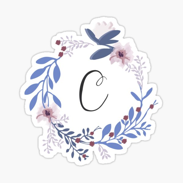 Flowers and the Letter C Sticker