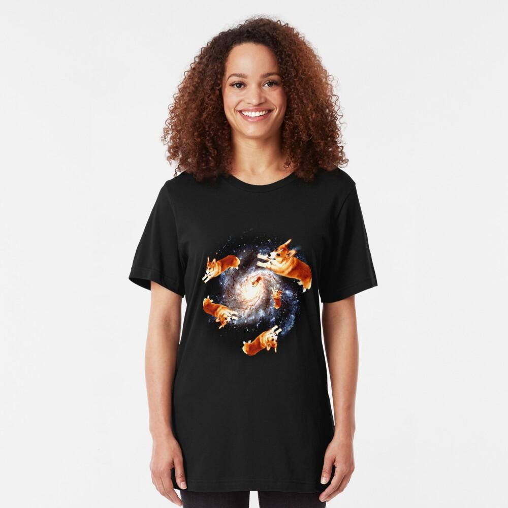 Funny Corgi Gift - Corgi Galaxy Slim Fit T-Shirt