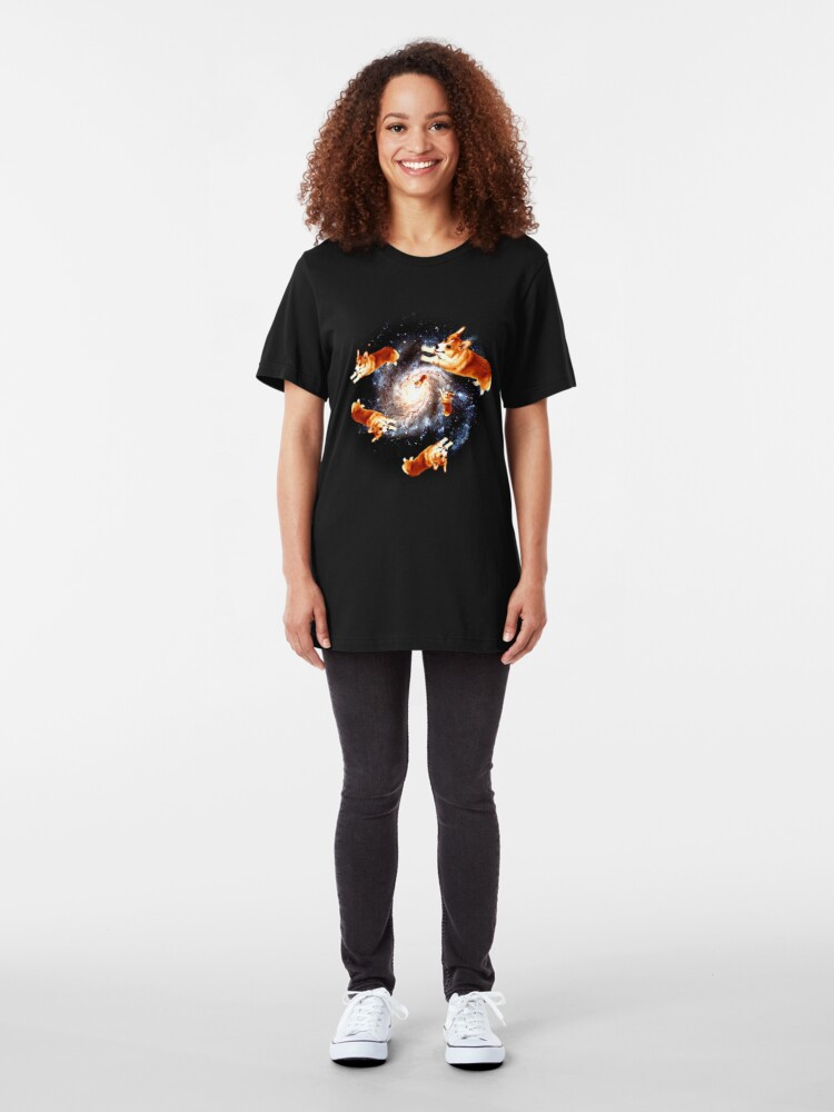 Alternate view of Funny Corgi Gift - Corgi Galaxy Slim Fit T-Shirt
