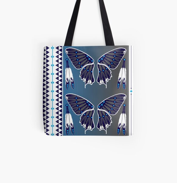Butterfly Nation Blue All Over Print Tote Bag