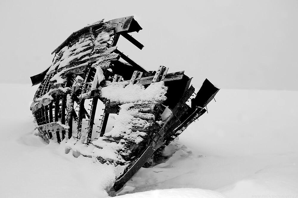 Frozen Boat Skeleton by Ian Benninghaus
