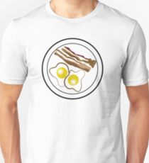 Bacon and Eggs on Plate Cartoon Graphic T-Shirt