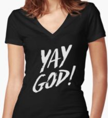 Yay God!  Women's Fitted V-Neck T-Shirt