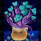 A Negative of Red Flowers in a Blue Pot by Anne Gitto