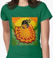 african long dress woman dancing in the nature T-Shirt