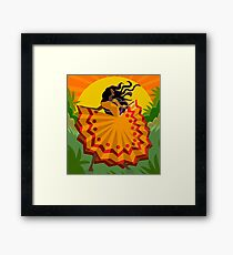 african long dress woman dancing in the nature Framed Print