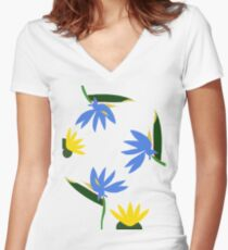 Yellow Lotus and Blue Strelitzia Women's Fitted V-Neck T-Shirt