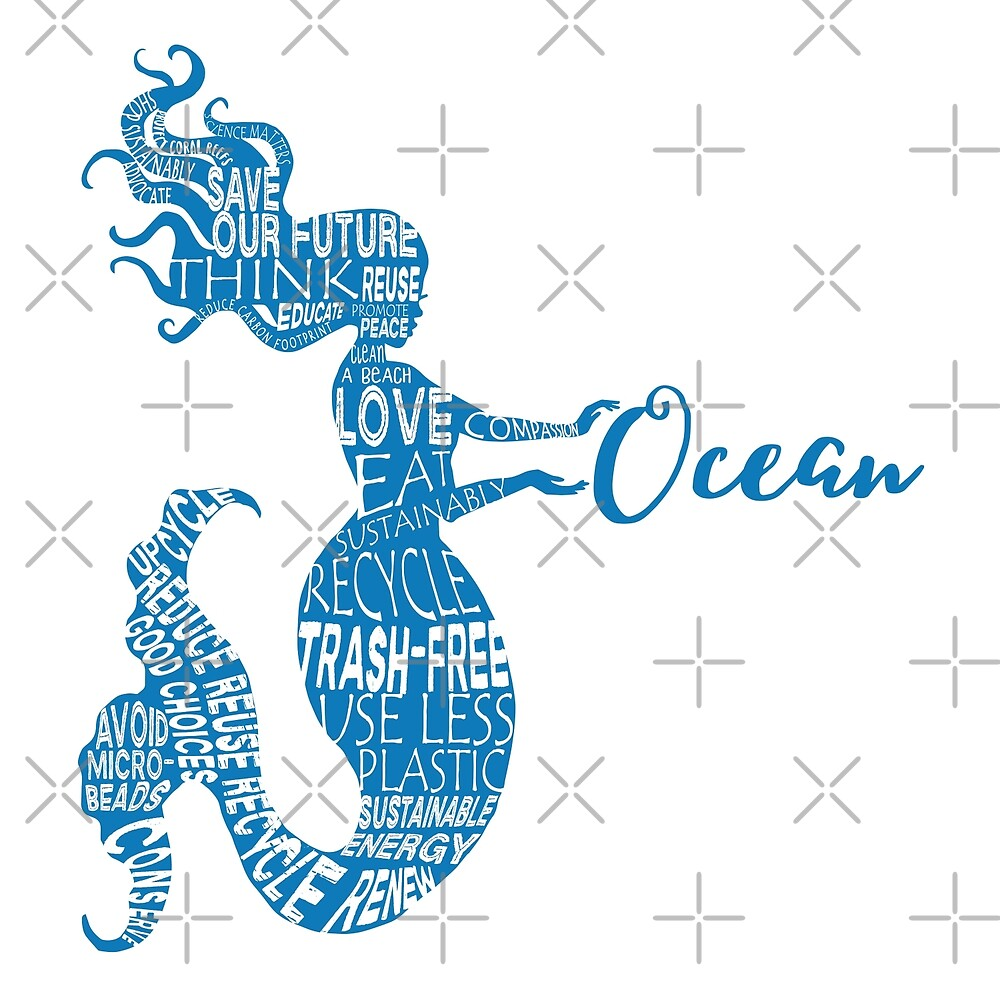 Ocean Mermaid - Word Bubble Blue by jitterfly