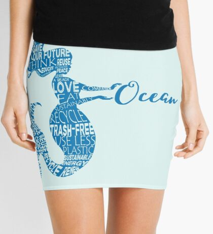 Ocean Mermaid - Word Bubble Blue Mini Skirt