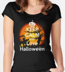 Keep Calm and Love Halloween Women's Fitted Scoop T-Shirt