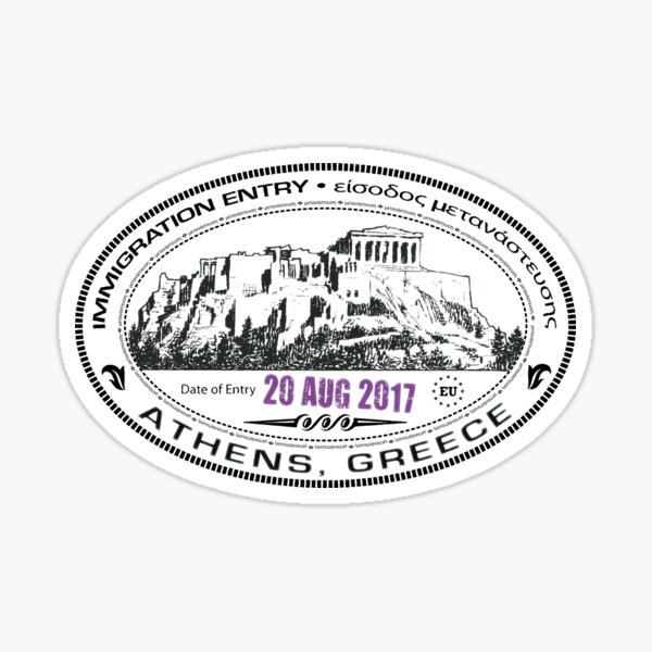 Passport Stamp - Athens, Greece Glossy Sticker