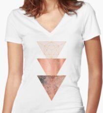 Blush und Kupfer Geo Tailliertes T-Shirt mit V-Ausschnitt