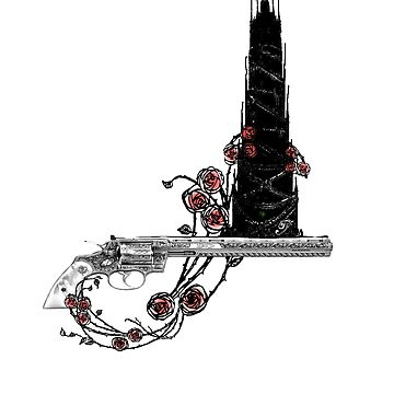 The Tower, The Rose and The Gun by fullcirclemandalas
