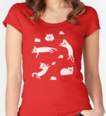 cat clouds Women's Fitted Scoop T-Shirt