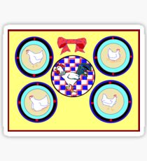 A Wall of Plates with Chickens and a Rooster Sticker