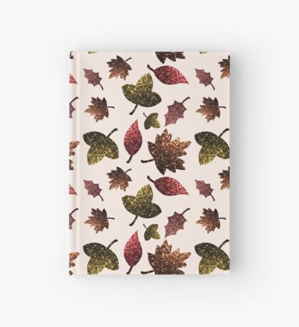 Sparkly leaves fall autumn sparkles pattern Hardcover Journal